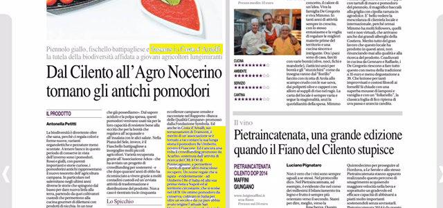 Il nostro antico pomodoro su Il Mattino di Napoli
